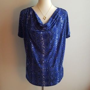 Michaels Kors Blue Snakeskin top